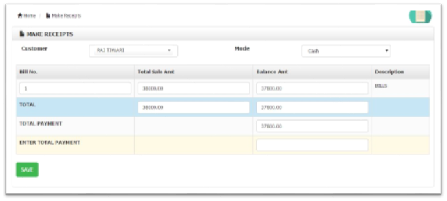 Create Receipt module Billing Software
