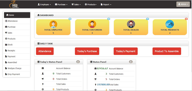 DashBoard Billing Management Software