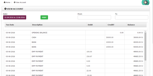 View account module Billing Software